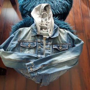 A cool denim men coat with hoodie attached.